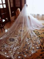 White Ivory Star Applique Long Trailing Cathedral Length Wedding Veils for Bride