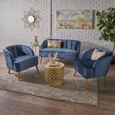 Scarlett Modern New Velvet 3 Piece Settee Club Chair Set