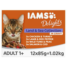 Iams Delights Land and Sea Collection in Gravy Cat Food Pouches - 12 x 85g