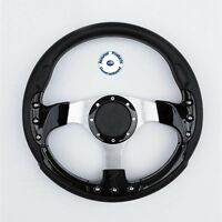 """NEW """"GRAND PRIX SPORT"""" DELUXE Sports Boat Steering Wheel BLACK and SILVER"""