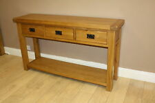 OAK 3 DRAWER LARGE CONSOLE TABLE, 150cm, 40cm, 85cm - FREE DELIVERY