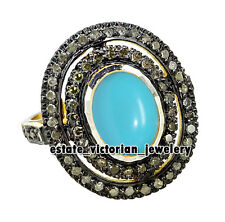 Vintage Victorian 1.90cts Rose Cut Diamond Turquoise Studded Silver Jewelry Ring