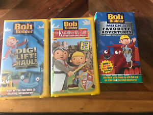 Bob The Builder VHS 3 Lot Dig Lift Haul Knights Of Fix A Lot Mucks Favorite Ad