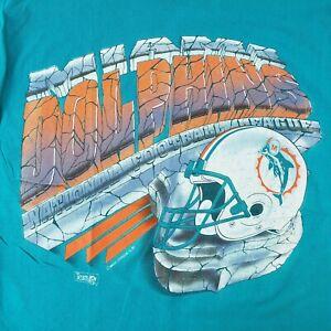 Magic Johnson Single Stitch NFL Miami Dolphins T- Shirt Size L Vintage USA Rare