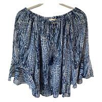 NWT Lovestitch Boho Top Women's Size Small Blue Flowy Tassels Oversized Ruffles