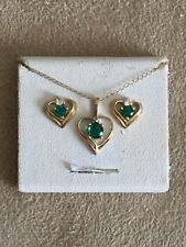 10k YELLOW GOLD EMERALD GREEN CLEAR CZ PENDANT NECKLACE EARRINGS HEARTS