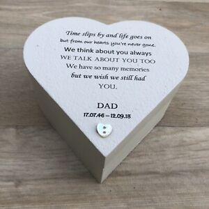 DAD MEMORIAL BOX Or ANY Name In Memory of a Loved One Heart Box