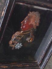 """Antique Miniature Painted Scottish Wax Portrait """" ADMIRAL DUNCAN """" c1800"""