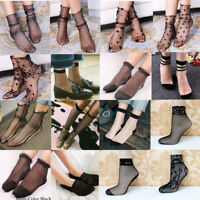 Vintage Women Ruffle Bow Fishnet Ankle High Socks Mesh Lace Fish Net Short Socks