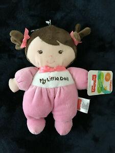 "NWT Fisher Price SnugaMonkey pink girl baby My Little doll lovey brown hair 8x6"""