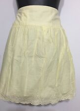 Factorie Brand Yellow Sexy Peplum Style Mini Skirt Eyelets Design Zip Up