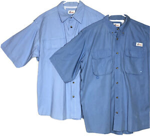 Lot of 2 World Wide Sportsman Outdoor Fishing Vented Short Sleeve Blue Shirts XL