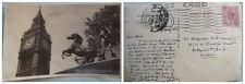 Vtg Big Ben & Boadicea Statue RPPC 1953 EricGill GV VI 6d POSTAGE REVENUE STAMP