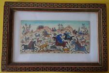 Peinture miniature perse / Indian Persian Moghol / Scène chasse / Cadre mosaïque