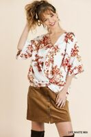 Umgee Floral Print V-Neck Bell Sleeve Twist Front Top Size S M