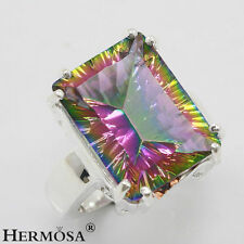Hermosa Mystical Rainbow Fire Topaz 925 Sterling Silver Charms Lady Ring size 9