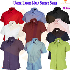New Ladies Poplin Half Sleeve Shirt Tailored Fit Womens Work Office Uniform TOP