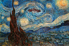 UFO Sighting On A Starry Night Vincent Van Gogh Humor Art Poster 24x36 inch