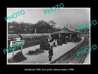 OLD POSTCARD SIZE PHOTO OF GLENBROOK NSW VIEW OF THE RAILWAY STATION c1900