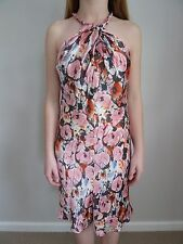 Womens Wayne Cooper Pink Floral Halter Neck Dress, Size 6