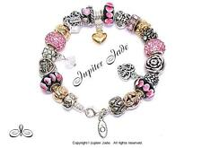 Authentic Pandora Silver Bracelet Pugster Charms Mom Wife Family Pink Black Gold