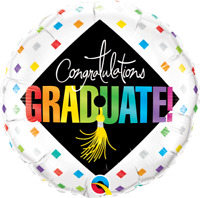 "GRADUATE CAP & DIAMONDS FOIL BALLOON 18""(45CM) QUALATEX FOIL BALLOON"
