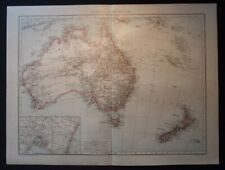 Antique Map: Australia & New Zealand / Sydney, Melbourne, Universal Atlas, 1893