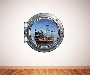 Pirate ship sea scene porthole wall sticker 054