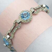 Vtg Art Deco Sterling Silver Halo Paste Geometric Link Blue Glass Bracelet