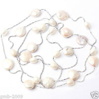 """Fashion Jewelry Natural Coin Rice White Freshwater Pearl Chain Long Necklace 46"""""""