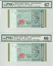 2007 MALAYSIA RM 50 GOLDLINE COMMEMORATIVE NOTE RUNNING NO. PMG 66 / 67 EPQ