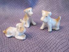 Vtg Miniature Terrier Puppy Figurines S/3 White/Brown *Fox *Parsons Russell Vgc