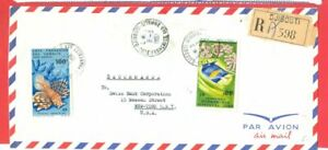 France Somali Coast 2 diff  stamp used on DJIBOUTI  Registered cover to USA 1967