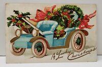 Christmas Greeting A Lucky Christmas Gold Gilded Antique Car Postcard B14