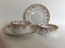 Pair of Lovely Limoges Ramekins and Underplates Pink Flowers and Gold Trim
