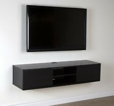 "Wall Mount TV Stand Media Console Center Storage Shelves Floating Unit 56"" Black"