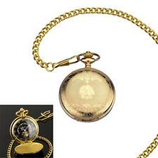 Mens Mechanical Watch Pocket Skeleton Black Gold Chain Retro Vintage Wind-Up HOT