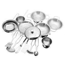 18pcs Mini Stainless Steel Kitchen Cooking Play Toys Cookware Pots Pans For Kids