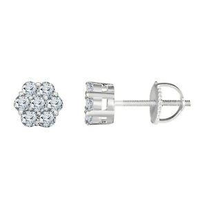 Real Sterling Silver 1.5 ct Round Diamond Solitaire Cluster Stud Earrings