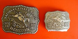 Father and Son 1986 Hesston National Finals Rodeo 2 Belt Buckles