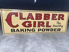 """1950s Clabber Girl Baking Powder Double Sided Metal Sign 33 1/2"""" x 11 ¾"""""""