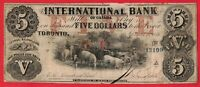 1858 $5 International Bank of Canada Chartered Note - Fine Tape Holes
