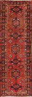 Vintage Tribal Gharajeh Hand-Knotted Geometric Runner Rug Oriental Carpet 4x11