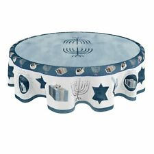 Laural Home Happy Hanukkah 70 Inch Round Tablecloth