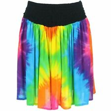 Mini Skirt Rainbow Tie Dye Ruched Short Siesta Boho Bohemian A-Line