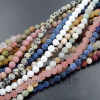 "6mm Matte Frosted Natural Gemstone Round Loose Beads 15"" Lot Diy Jewelry Making"