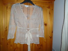 Delicate natural colour hip length sheer crochet cardigan, ¾ sleeves, ZAHARA, 8