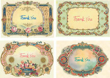 Vintage inspired Thank You fancy frames small note cards set of 6 with envelopes