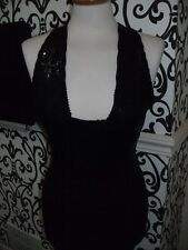 SEXY skin tight wiggle sequin dress X over straps @ back By Therapy Size 6 NEW