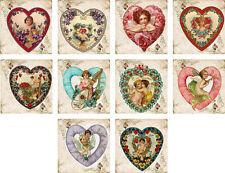 "Vintage antique heart Valentine 2"" mini cards scrapbooking set 10 with envelopes"